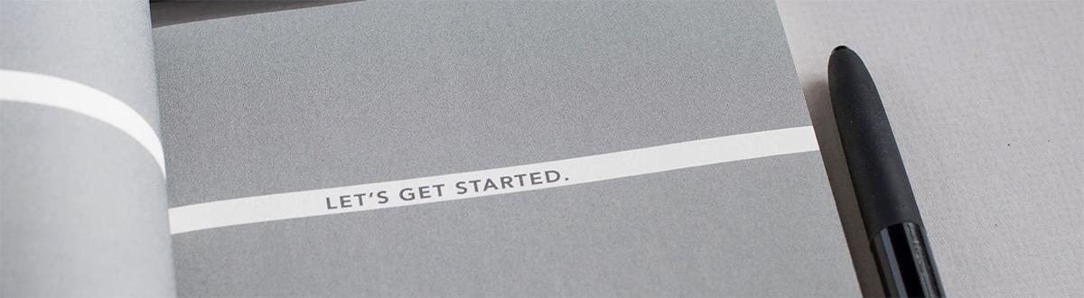 Text som säger Let's get started